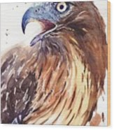 Hawk Watercolor Wood Print