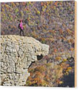 Hawksbill Crag In Autumn Wood Print