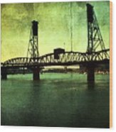 Hawthorne Bridge Wood Print by Cathie Tyler