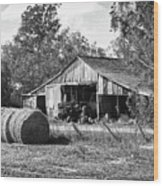 Hay And The Old Barn - Bw Wood Print