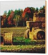 Hay Bail Tractor  Wood Print by Marsha Heiken