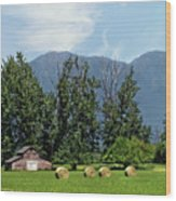 Hay Bales And A Barn - Kalispell Montana Wood Print
