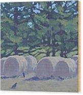 Hay Bales And Crows Wood Print