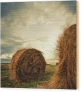 Hay Bales On Farm Field Wood Print
