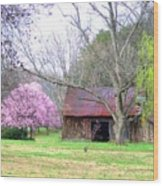 Hay Barn And A Touch Of Pink Wood Print