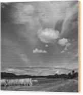 Hay Field And Barn Clarks Lake Road Wood Print