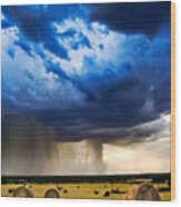 Hay In The Storm Wood Print