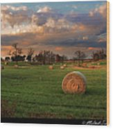 Haybales At Dusk Wood Print by Melinda Swinford