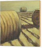 Haybales Wood Print by Jaylynn Johnson