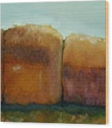 Haybales Wood Print by Judy  Blundell