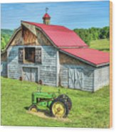 Hayesville Barn And Tractor Wood Print