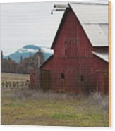 Hayfork Red Barn Wood Print