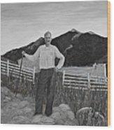 Haymaker With Pitchfork B W Wood Print