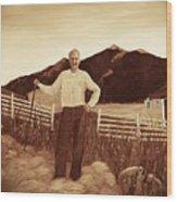 Haymaker With Pitchfork Vintage Wood Print