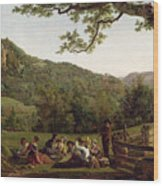 Haymakers Picnicking In A Field Wood Print