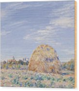 Haystack On The Banks Of The Loing Wood Print