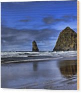 Haystack Rock And The Needles Wood Print