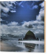 Haystack Rock Wood Print by David Patterson
