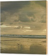 Haystack Sunset Panorama Wood Print