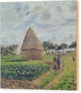 Haystacks Wood Print by Camille Pissarro