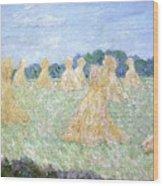 Haystacks The Young Ladies Of Giverny Sun Effect Wood Print