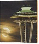 Hazy Full Moon A144 Wood Print