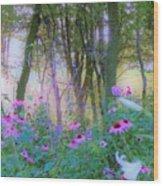 Hazy Garden Sunrise Wood Print