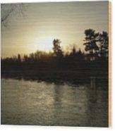 Hazy Mississippi River Sunrise Wood Print