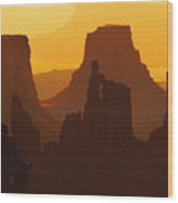 Hazy Sunrise Over Canyonlands National Park Utah Wood Print