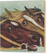 Head And Head At The Winning Post Wood Print