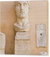 Head From The Statue Of Constantine, Rome, Italy Wood Print