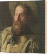 Head Of A Cowboy Wood Print
