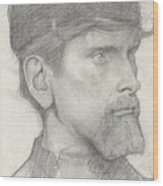 Head Of A Man With A Hat Wood Print