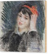 Head Of A Young Woman - 1878 -1880 Pierre-auguste Renoir Wood Print