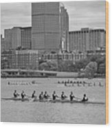 Head Of The Charles. Charles Rowers Black And White Wood Print