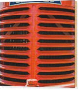 Head On To An Old Case Tractor Grill In Classic Orange Paint Wood Print