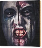 Head Shot On A Pure Evil Zombie Girl Wood Print