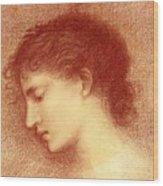 Head Study Of Maria Zambaco The Wine Of Circe Wood Print