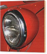Headlamp On Red Firetruck Wood Print