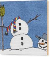Headless Snowman Wood Print by Nancy Mueller