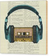 Blue Headphone And Yellow Cassette Collage Print Wood Print