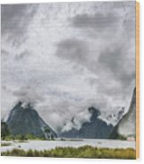Heads In The Clouds Panorama At Milford Sound Wood Print