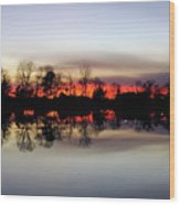 Hearns Pond Silhouette Wood Print