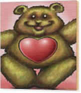 Heart Bear Wood Print