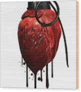 Heart Grenade Wood Print