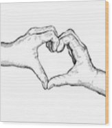 Heart Hands Wood Print