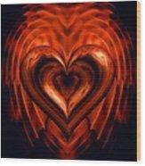 Heart In Flames Wood Print