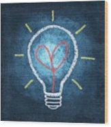 Heart In Light Bulb Wood Print