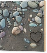 Heart In The Sand Wood Print