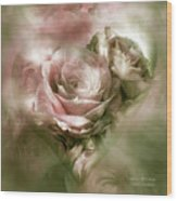 Heart Of A Rose - Antique Pink Wood Print